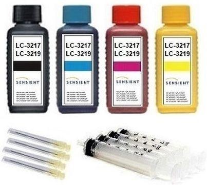 Nachfüllset für Brother LC-3217, LC-3219 XL - 4 x 100 ml Sensient Tinte + Zubehör