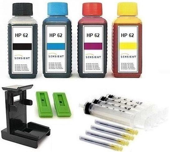 Nachfüllset für HP 62 (XL) black + color Tintenpatronen - 4 x 100 ml Sensient Tinte + Zubehör