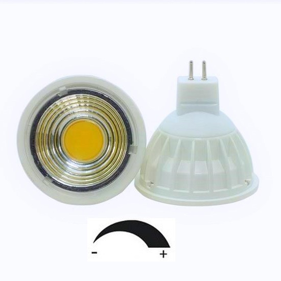 5 Watt COB LED-Spot Weiß MR16 GU5.3 12V, Lichtfarbe warmweiß 2700 K, dimmbar, 90° Ausstrahlung