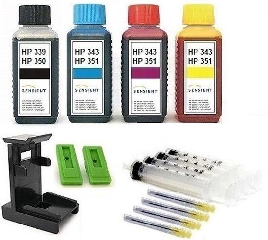 Nachfüllset für HP 350 black + 351 color (XL) Tintenpatronen - 4 x 100 ml Sensient Tinte + Zubehör