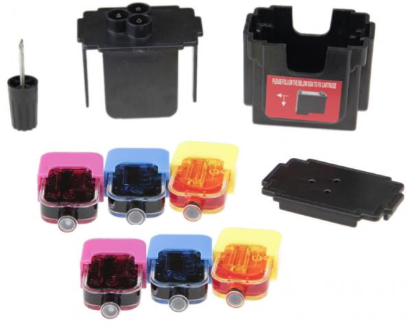 Easy Refill Befülladapter + Nachfüllset für HP 57 color (XL) Patronen HP C6657AE, C6656GE
