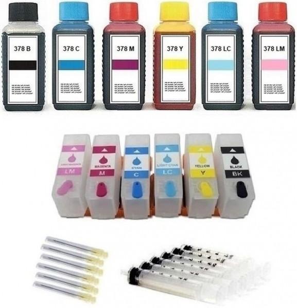 Wiederbefüllbare Tintenpatronen wie Epson 378, 378 XL + 600 ml Nachfülltinte