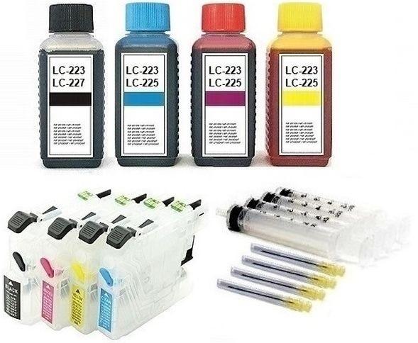 Wiederbefüllbare Tintenpatronen wie Brother LC-223, LC-225 + 400 ml Nachfülltinte
