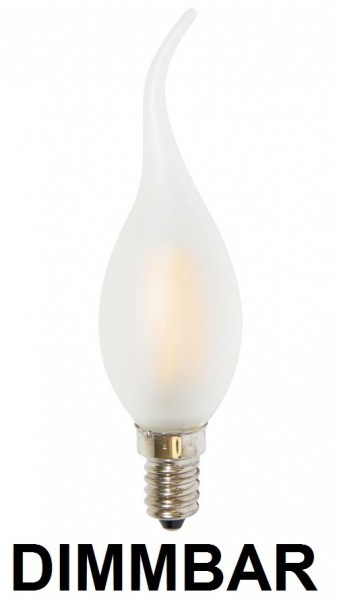 4 Watt Faden Filament LED Lampe, Kerze Windstoß, E14, Lichtfarbe warmweiß 2700 K, Milchglas, dimmbar