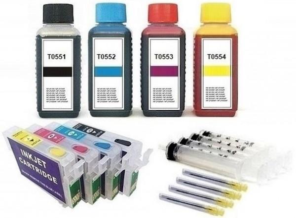 Wiederbefüllbare QUICKFILL-FILL-IN Patronen wie Epson T0551-T0554 + 400 ml Nachfülltinte