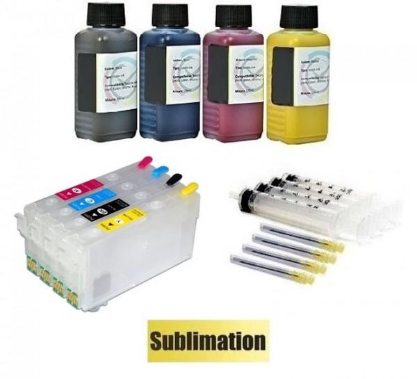 Wiederbefüllbare Patronen wie Epson 405 XL MIT CHIPS + Chipresetter + 400 ml Dye Sublimationstinten