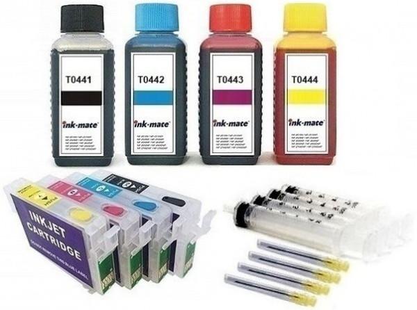 Wiederbefüllbare QUICKFILL-FILL-IN Patronen wie Epson T0441-T0444 + 400 ml INK-MATE Tinten