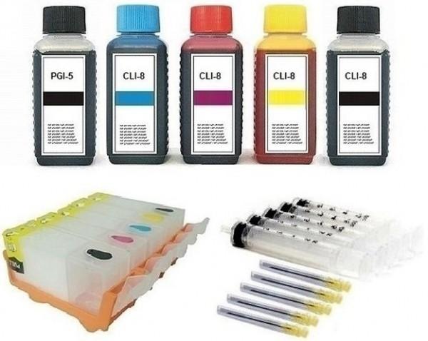 5 wiederbefüllbare QUICKFILL-FILL-IN Patronen wie Canon PGI-5 & CLI-8 + 500 ml Nachfülltinte