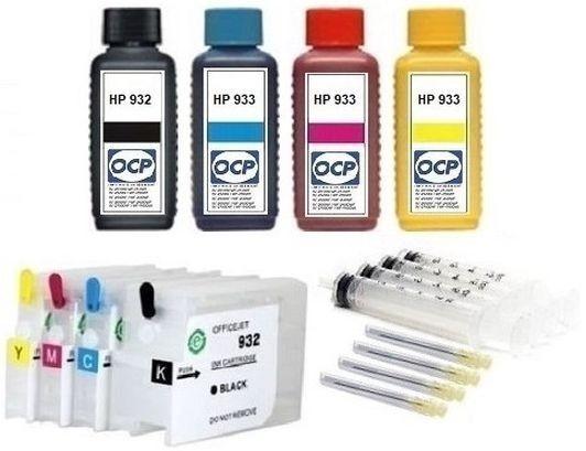 Wiederbefüllbare QUICKFILL-FILL-IN Patronen HP 932 & 933 XL + 4 x 100 ml OCP Tinten