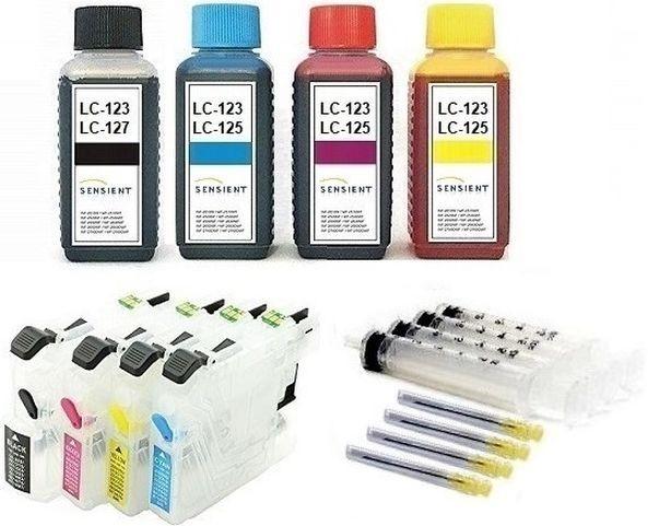 Wiederbefüllbare QUICKFILL-FILL-IN Patronen wie Brother LC-125, LC-127 + 400 ml SENSIENT Tinten