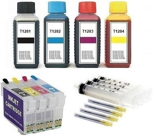 Wiederbefüllbare QUICKFILL-FILL-IN Patronen wie Epson T1281-T1284 + 400 ml Nachfülltinte