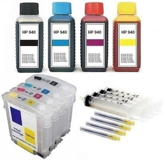 Wiederbefüllbare Tintenpatronen wie HP 940 XL + 400 ml Nachfülltinte