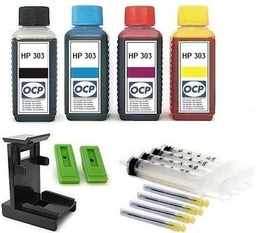 Nachfüllset für HP 303 (XL) black + color Tintenpatronen - 4 x 100 ml OCP Tinte + Zubehör