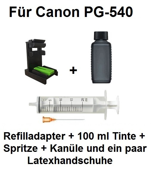Befülladapter + 100 ml INK-MATE Nachfüll-Tinte black für Canon PG-540 (XL)