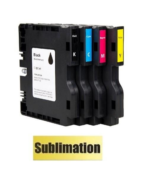 Druckerpatronen-Set wie Ricoh GC-41 black, cyan magenta, yellow mit SUBLIMATIONSTINTE