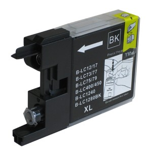 Druckerpatrone wie Brother LC-1240 BK, LC-1280 XL-BK Black, Schwarz